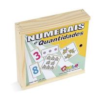 Numerais E Quantidades Jogo Com 30 Pcs Em Mdf - Carlu 1055