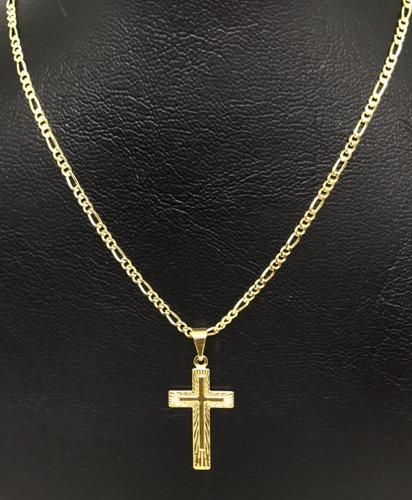 b467be64f37be Corrente Masculino Folheada A Ouro 18k Cordão 60cm Ping Cruz