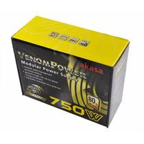 Fonte Real 750w 80 Plus Bronze Modular Pfc Ativo Akasa Venom