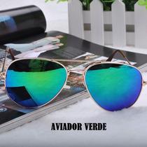 Óculos De Sol Aviador Verde Espelhado Unissex-pronta Entrega