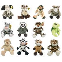 Bichos De Pelúcia Safári Berço Bebê Animais Kit 12un