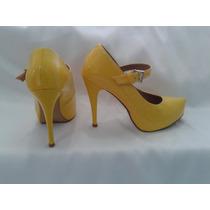 Sapato De Salto Feminino Meia Pata Amarelo Envernizado