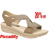 20% Off Sandália Papete Piccadilly Conforto Bege 564003