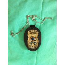 Pc9 Porta Distintivo Em Couro Polícia Comunitária