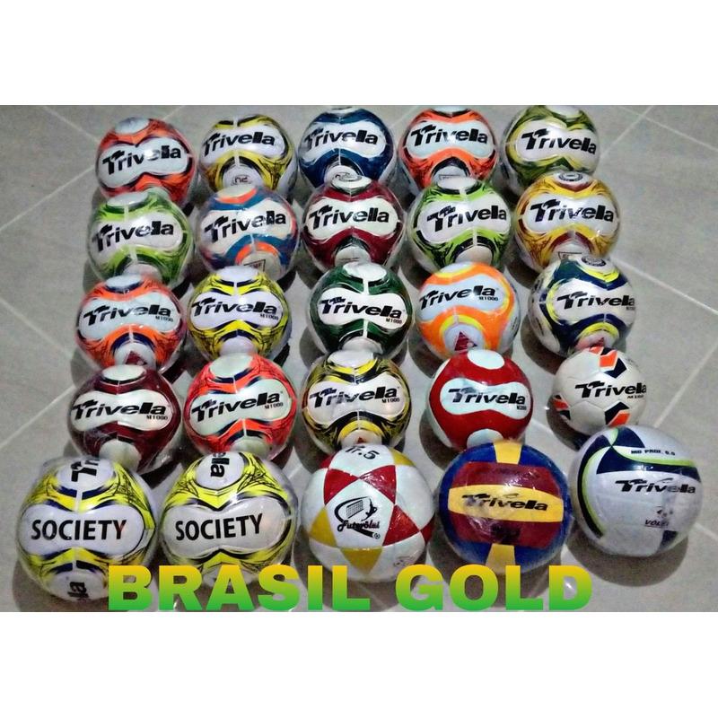 Kit 3 Bolas Futebol Campo Trivella Original - Brasil Gold em ... 696c4a1c8ee8f