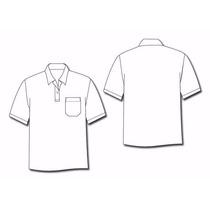 Camiseta Gola Polo 100% Poliéster Malha Pp Branca Lisa