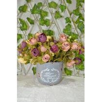 Lindo Vaso Azul C/ Flores Artificiais - Pronto P/ Enfeitar