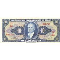 1 Cédula Dinheiro Antigo, 10 Cruzeiros, 1ª Série, Ano 1963