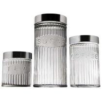 Conjunto Potes De Vidro 3 Peças C/tampa Em Inox Euro 80338