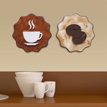 2 Quadros Decorativos Cozinha Café 20cm Pintura Mdf