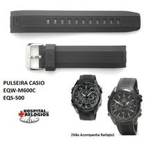 Pulseira Casio Eqs-500 Eqw-m600 Edifice Preta Borracha