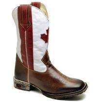 Bota Country Masculina Botina Couro Canada Americana Texana