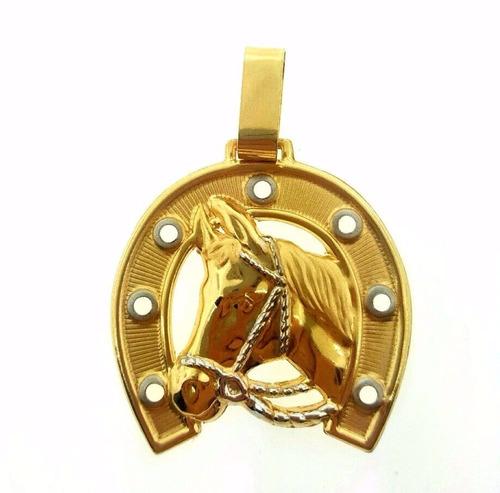 70cfb0af60f10 Pingente Cavalo Ferradura Em Ouro 18k 750 Peso 0.65 Gramas