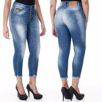Sawary Calça Jeans Cropped Hot Pant Com Lycra Sabrina Sato