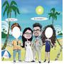 Caricatura De Noivos Colorida Em Banner Para Fotos