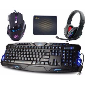 Kit Gamer Teclado Iluminado + Mouse 2400 Dpi + Fone Headset