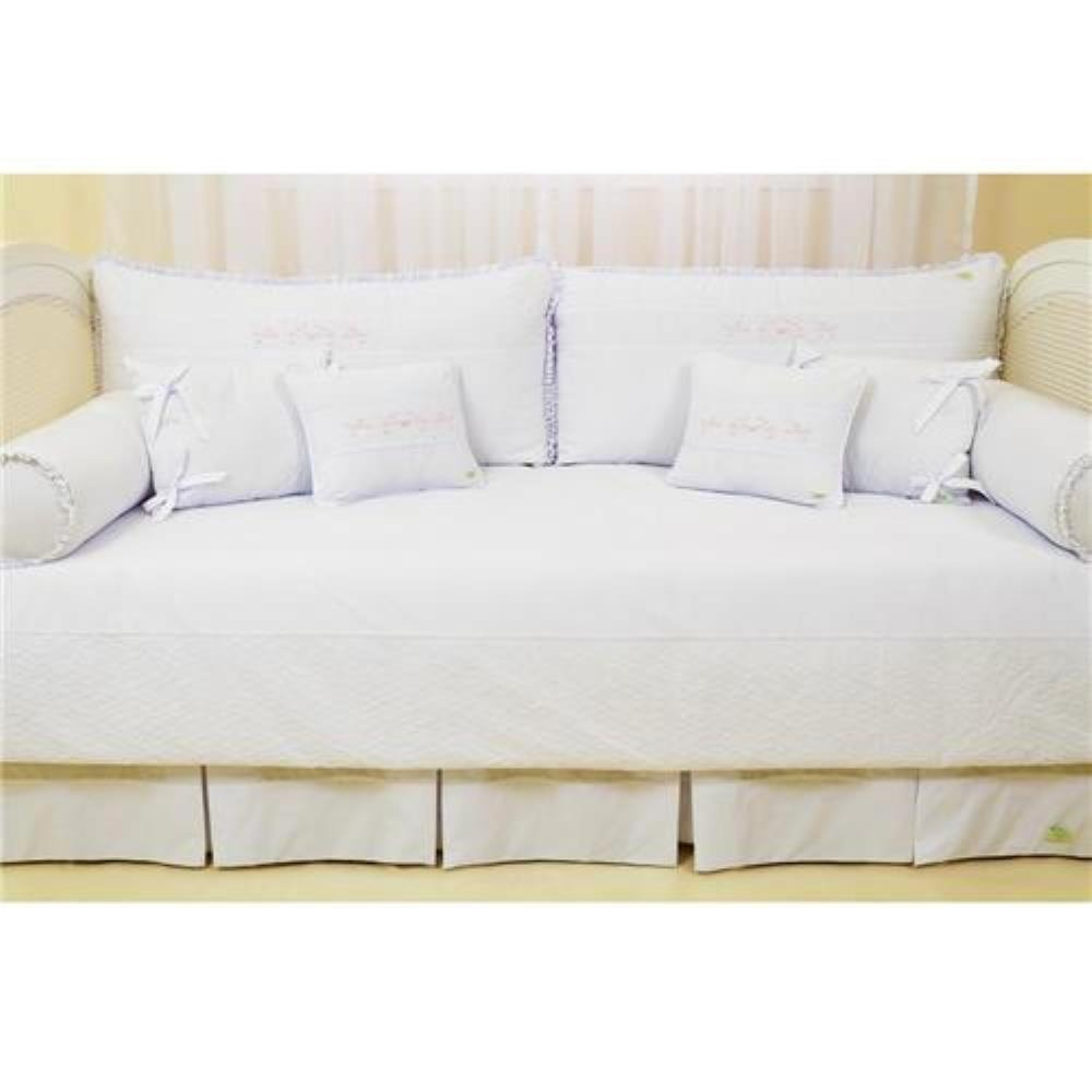 Kit sof cama val ncia 10 p s branco bordado laura ashley for Sofa cama valencia