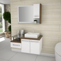Gabinete De Banheiro Completo Legno Branco E Nogal Com Cuba