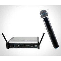 Microfone De Mão S/fio Tsi Ms115 Plus Uhf - 2 Antenas C/ Nf