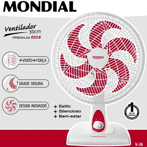 Ventilador De Mesa 6 Pás 30 Cm Premium Red Mondial 110v