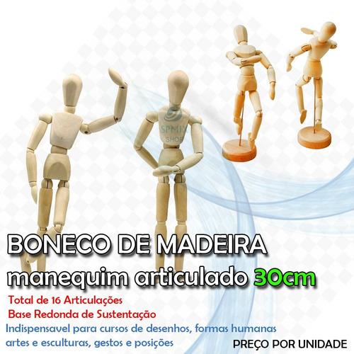 Boneco Articulado Manequim Madeira 30 Cm Desenho Modelagem