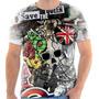 Camiseta Camisa Caveira Bandeira Inglaterra Skull England 09