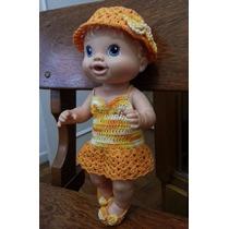 Roupinha Para Baby Alive Crochê Em Linha Amarela E Laranja