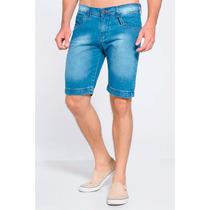 Bermuda Jeans Masculina Bolso Bordado Detalhes Estiloso