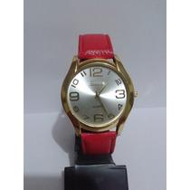 Relógio Feminino Eura Dourado Com Pulseira Vermelha Envio Já