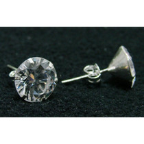 Par De Brincos Masculino 8mm Diamante Sintético Prata 925