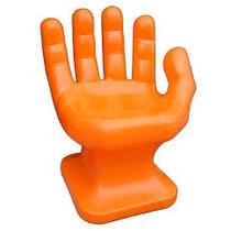 Cadeira Plastica Formata Mão Decorativa - Laranja