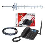 Kit Completo Celular De Mesa Rural Com Antena De 15dbi