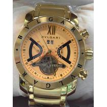 Relógio Masculino Bvgari Automatico Dourado 12x Sem Juros Bv