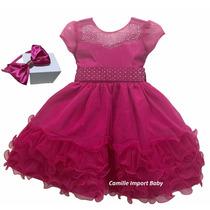 Vestido Festa Infantil Princesa Barbi Cinderela Pink E Tiara