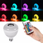 Kit 04 Lampada Led 6w Rgb Caixa Som Bluetooth Controle