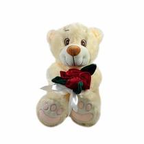 Urso De Pelúcia Soft Com Flores
