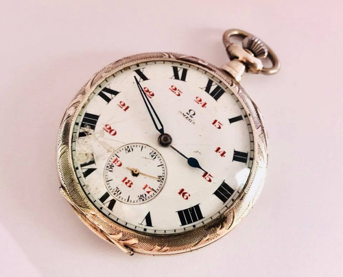14fe7416f40 Raro Relógio De Bolso Suíço Omega Prata De Lei Teor 0900