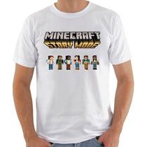 Camiseta Branca Algodão Minecraft Story Mode Steve Enderman