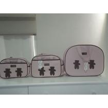 Kit De Bolsas Maternidade Gade Baby 3 Peças Urso Rosa