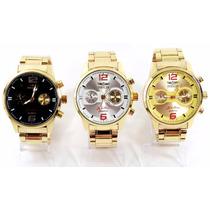 Relógio Masculino Preto Branco Dourado Com Caixa P/ Presente