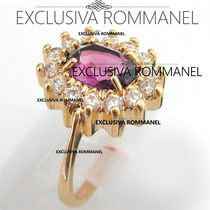 Rommanel Anel Formatura Solitario Folheado Ouro Lilas 511482