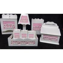 Kit Higiene Bebê Princesa Coroa 3d 8 Peças