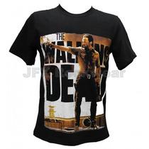 Camisa De Manga Curta Rock Banda Walking Dead Cowboy Rick