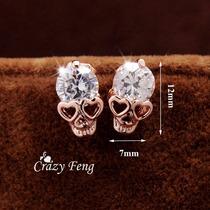 Brinco Banhado Caveira Cristal Importado Prona Entrega