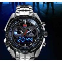 Relógio De Pulso Luxo Led Tvg Seals Elite Analógico Digital