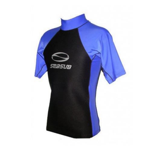 Camiseta Lycra Neoprene Azul Manga Curta Seasub P. R  87.37 8c6e6c703a