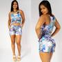 Conjunto Short Cropped Roupa Feminina Estampado Verão Lindo