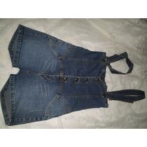 Macacao Jeans Retro Cintura Alta Tamanho 38