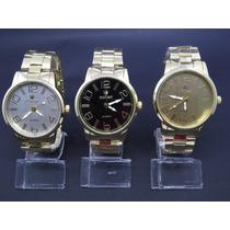 Kit Com 3 Relógios Masculino De Luxo Á Pronta Entrega