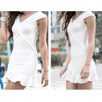 Vestido Bandagem Cruzado Panicat Alta Compressão Branco